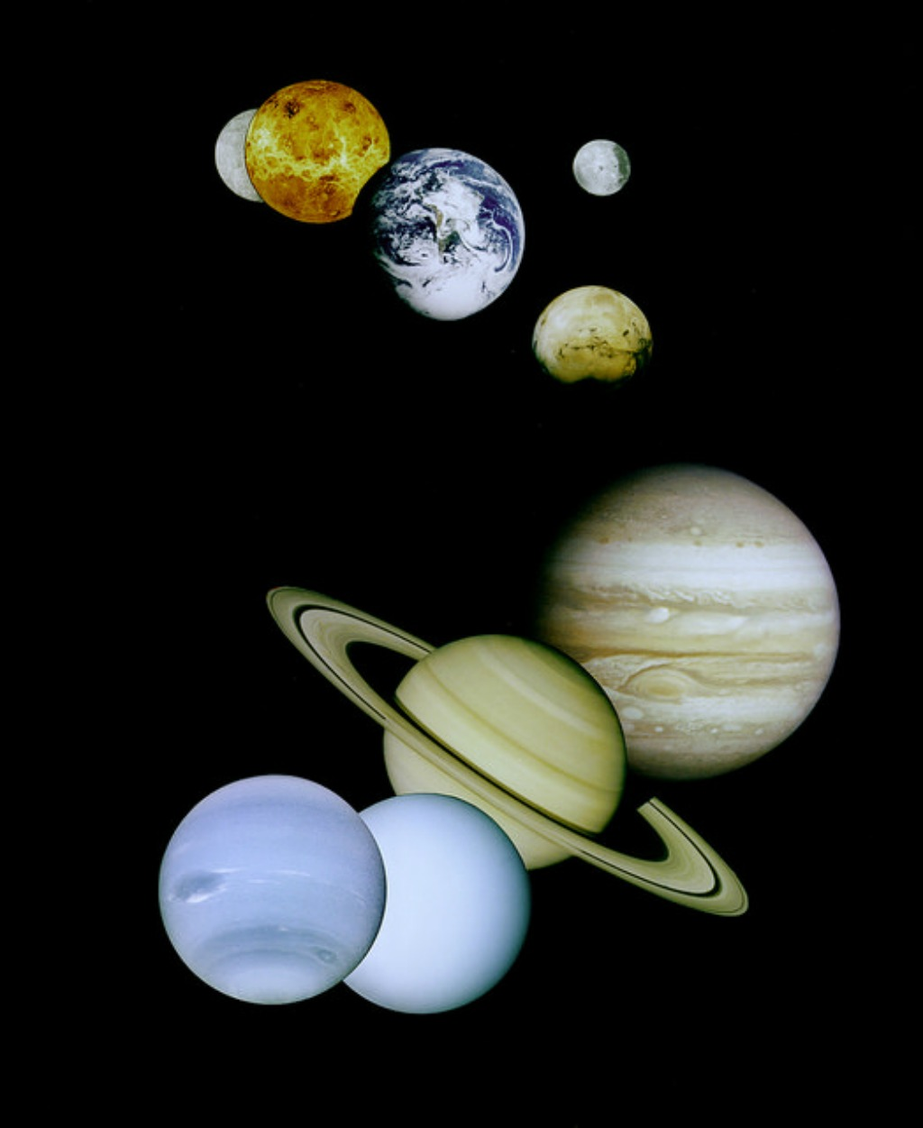 Solar System Montage - This is a montage of planetary images taken by spacecraft managed by the Jet Propulsion Laboratory in Pasadena, California, United States - via NASA on The Commons